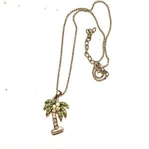 Rhinestone palm tree necklace
